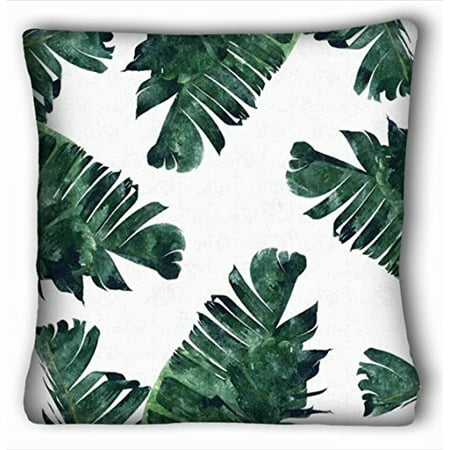 WinHome Banana Leaf Green Throw Pillow Case Cases Cover Cushion Covers Sofa Size 20x20 Inches Two Side ()