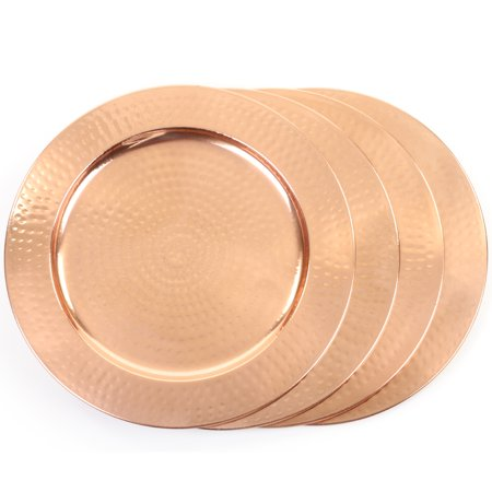 Koyal Wholesale 4-Pack Hammered Copper Charger Plates, Shiny Copper Charger Plates, Wedding (Chopper Plate)