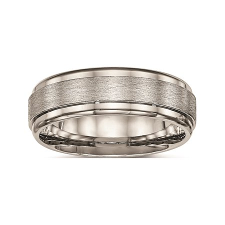 Designer Titanium Brushed And Polished Ridged Edge Ring (Width=7.00) Made In China -Jewelry By Sweet Pea Creations
