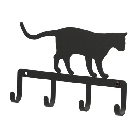 Silhouette Wrought Iron Key Holder - Cat at Play Powder Metal Coated
