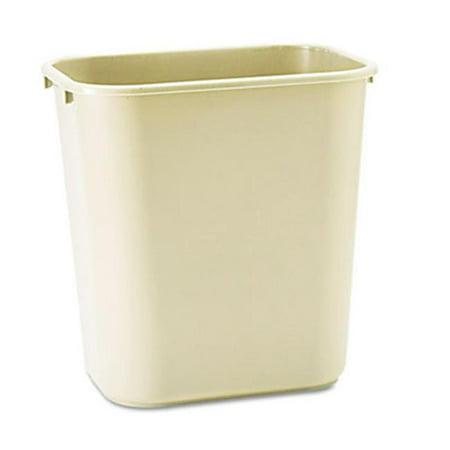 Soft Molded Plastic Wastebasket  Rectangular  7 gal  Beige