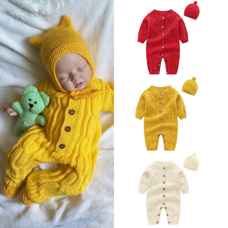 0-3 Months Newborn Baby Rompers with Booties Hat Boys Girls Jumpsuit Winter Outfits Set