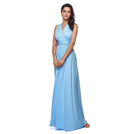 8a6307fade93 Kenancy - Women's Sexy V-Neck Dress,Convertible Wrap Multi Way Party Long  Maxi Dress - Walmart.com