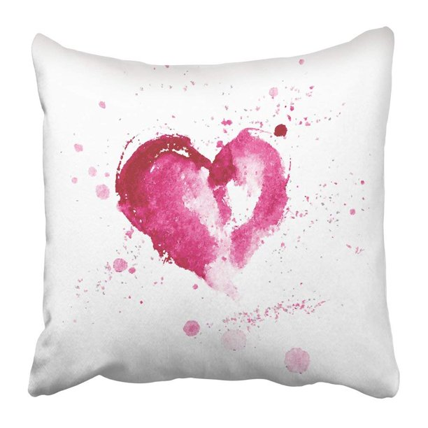 Artjia White Water Watercolor Pink Heart For Valentine S Day And Wedding Splash Love Painting Abstract Pillowcase Pillow Cover 20x20 Inches Walmart Com Walmart Com