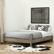 South Shore Munich Queen Platform Bed on Legs, Weathered Oak