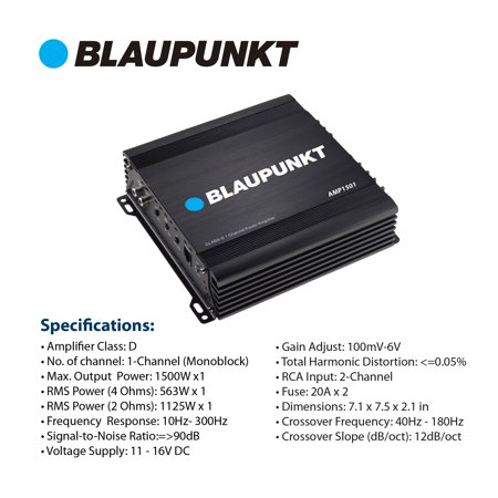 Blaupunkt AMP1501 Car Full-Range Amplifier 1500 Watts 1