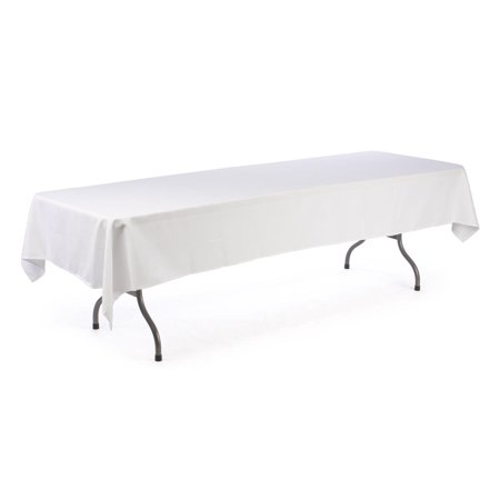 Set Of 5 White Polyester Tablecloth For 8 Foot