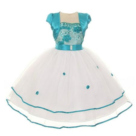 Tea Girl Dresses (Chic Baby Girls Teal Floral Embroidery Bolero Junior Bridesmaid)