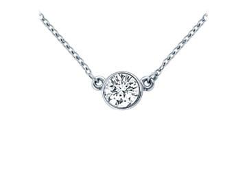 Platinum Bezel Set Round Diamond Solitaire Pendant 0.33 CT. TW. by Love Bright