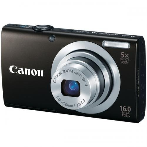 "Canon PowerShot A2400 IS Black 16MP Digital Camera w/ 5x Optical Zoom Lens, 2.7"" LCD Display, HD Video, Intelligent Image Stabilization"