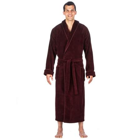 Noble Mount Men's Premium Coral Fleece Long Hooded Plush Spa/Bath - Mens Hooded Robes