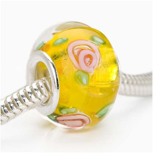 Murano Style Glass Lampwork European Style Large Hole Bead - Yellow With Rose 14mm (1)
