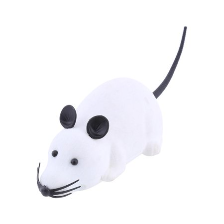 HERCHR Two-Way Flocking Remote Control Mouse Toy Without Packaging (White), Electronic Rat Toy, Mouse Remote Control Toy, Flocking Mice Toy, Mouse Electronic Remote Control Rat