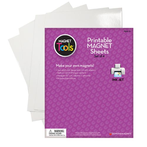 "Printable Magnetic Sheets 8.5""X11"" 4/Pkg-White"