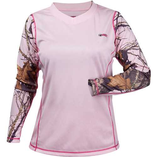 Rocky Camo Accent Lightweight Compression Top, Pink Mossy Oak