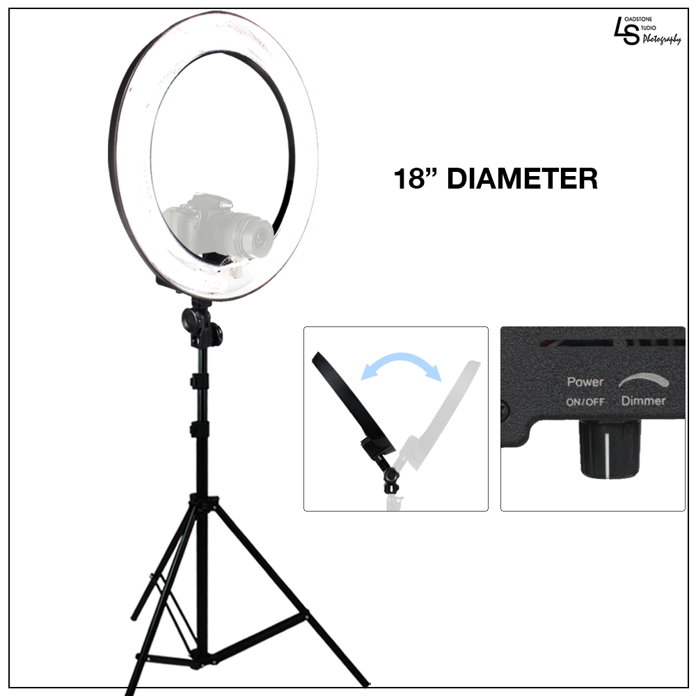 "Loadstone Studio 18"" Ring Light Dimmable Fluorescent Continuous Lighting Kit 5500K Photography Photo Studio Light Stands with Carrying Case, WMLS1433"