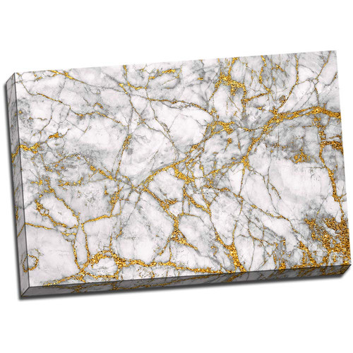 White Marble Gemstone 24x36 Wrapped Canvas