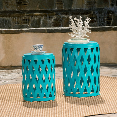 Shelby Outdoor Small and Large Iron Side Table Set, Set of 2, Matte Teal ()