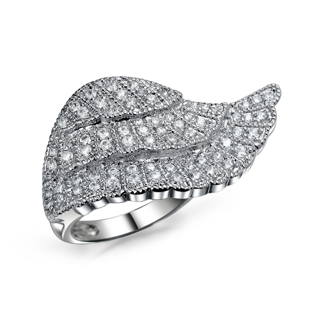 Bling Jewelry Tone Pave CZ Angel Wing Cocktail Ring Silver Plated
