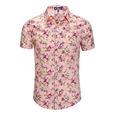 d9a0de48eb0b3 Unique Bargains - Unique Bargains Men s Short Sleeve Button Front Floral  Print Cotton Hawaiian Shirt - Walmart.com