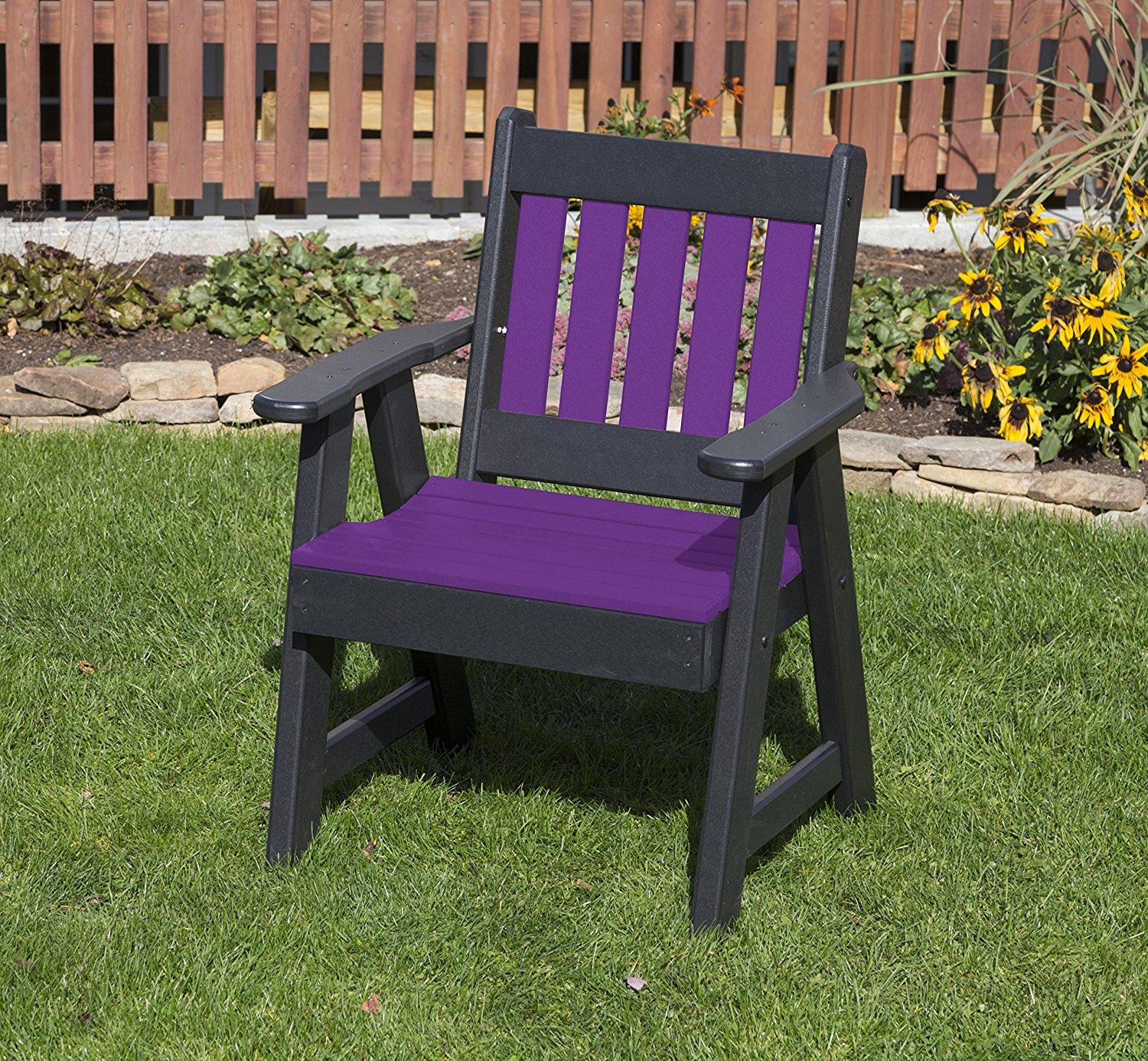 Outdoor Patio Garden Lawn Exterior Bright Purple Finish 2 Ft Poly Lumber Mission Heavy Duty Everlasting Amish Crafted Chair