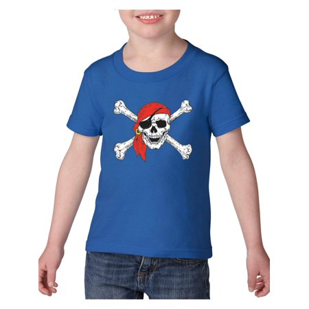 Pirates Jolly Roger Skull Crossbones Heavy Cotton Toddler Kids T-Shirt Tee Clothing](Kids Pirate Clothes)