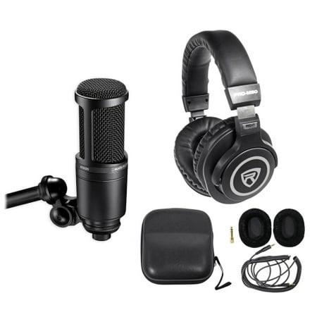 Audio Technica Cardioid Headset - Audio Technica AT2020 Studio Microphone-Cardioid Condenser Mic + Headphones