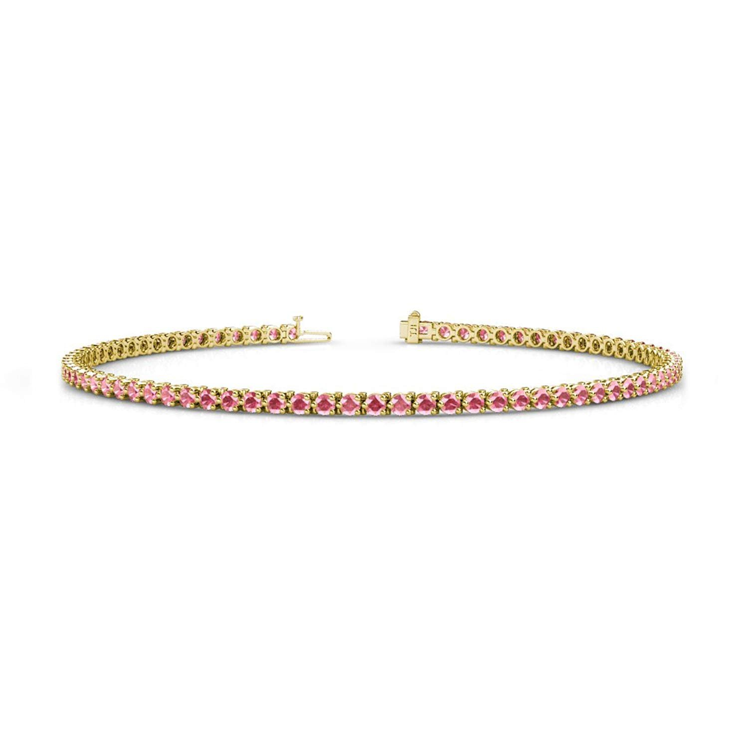 Pink Tourmaline 2mm 3-Prong Tennis Bracelet 1.32 cttw in 14K Yellow Gold by TriJewels