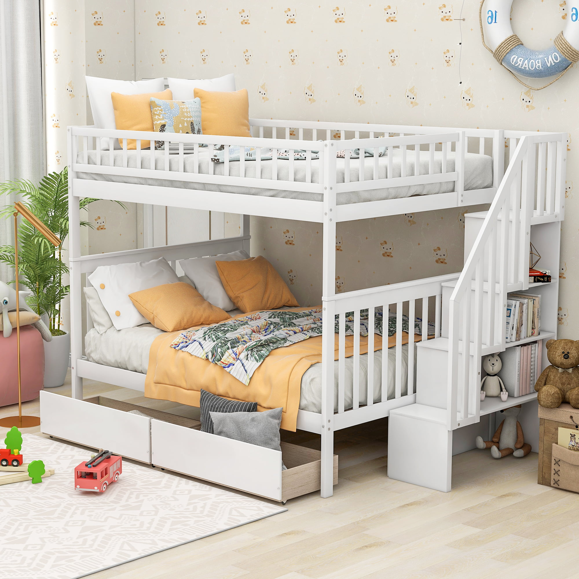 Picture of: Euroco Full Over Full Bunk Bed With Storage Shelves And 2 Under Storage Drawers Walmart Com Walmart Com