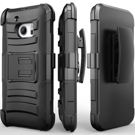 htc 10 holster case, redshield [black] supreme protection hard plastic on silicone skin dual layer hybrid