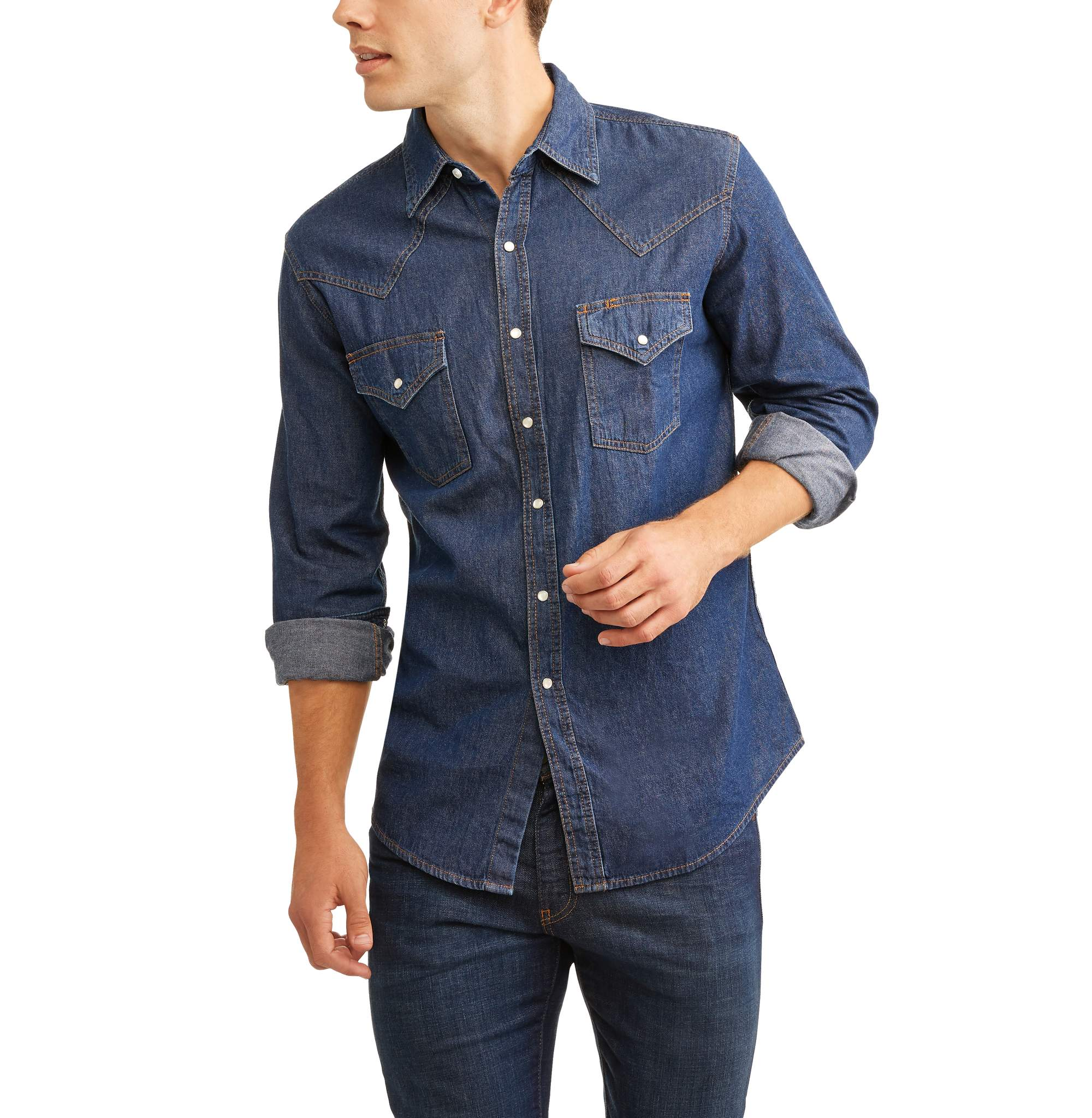 Plains Men's Long Sleeve Denim Western Shirt