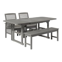 Delacora WE-BDWD4SD Gray Wash 4 Piece Acacia Framed Outdoor Dining Set
