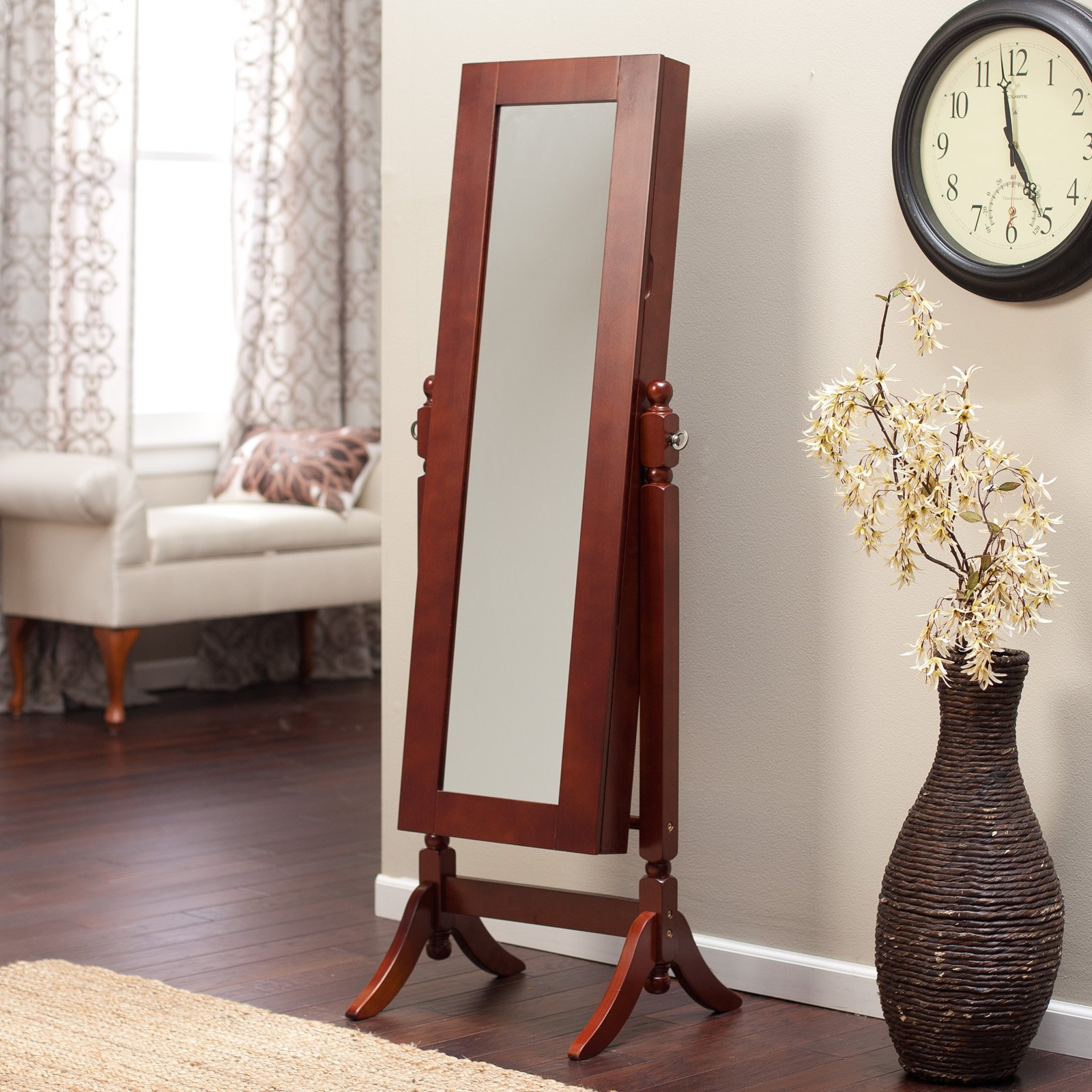 Heritage Jewelry Armoire Cheval Mirror   Cherry   Walmart.com