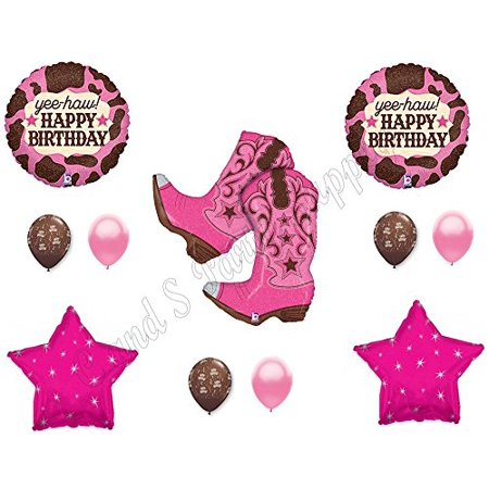 PINK COWGIRL BOOTS Happy Birthday Party Balloons Decoration Supplies Horse - Western Decorations