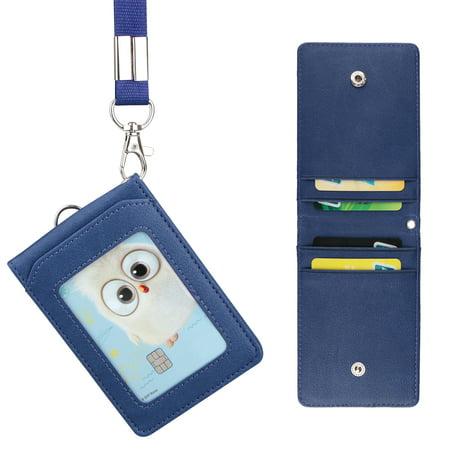 Leather Wallet Work Office ID Badge Card Credit Holder Neck Strap Lanyard 5 Slot