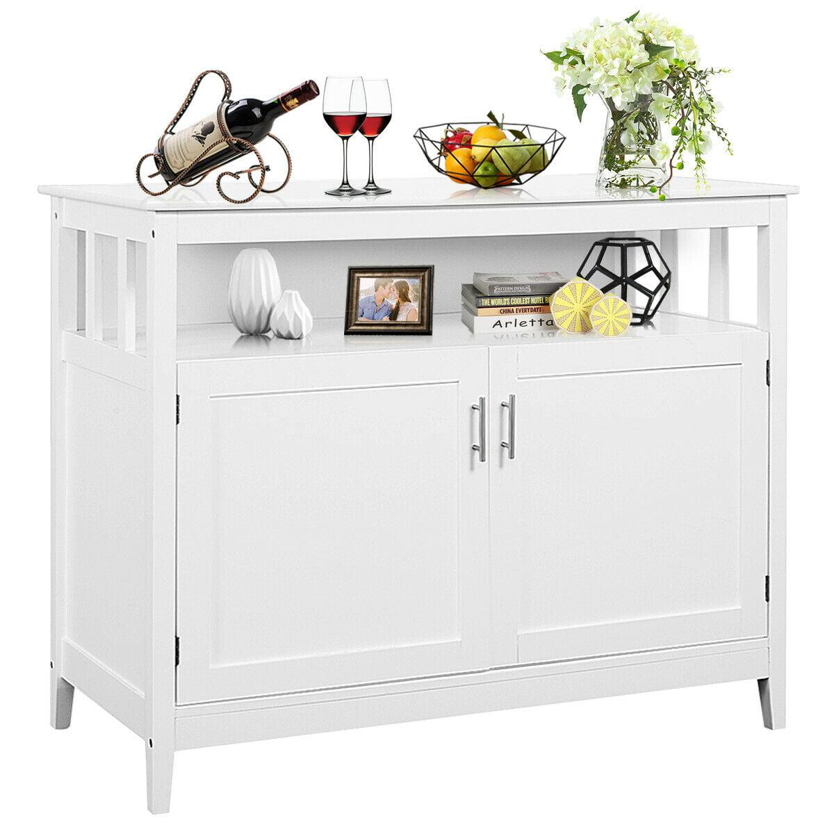 Costway Modern Kitchen Storage Cabinet Buffet Server Table Sideboard Dining  Wood White - Walmart.com