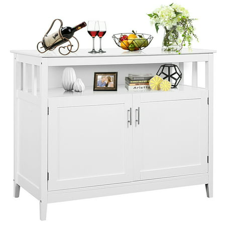 Costway Modern Kitchen Storage Cabinet Buffet Server Table Sideboard Dining Wood White ()