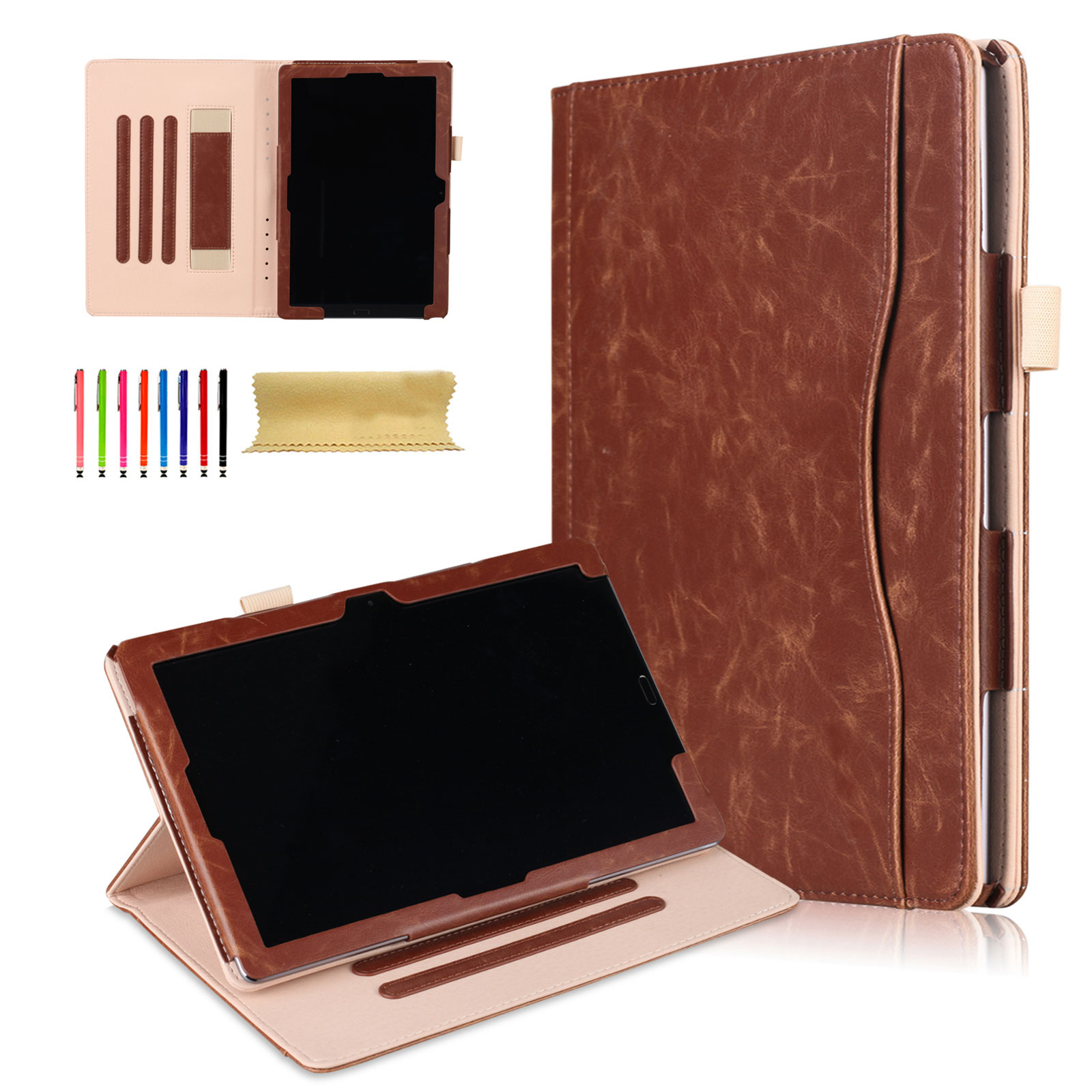 Huawei MediaPad M5 10.8-inch Tablet Case, Goodest Slim Shell Book Style Folio Flip Stand Cover Case with Auto Wake/ Sleep, Document Slots for Huawei MediaPad M5 10.8 Inch Tablet, Brown