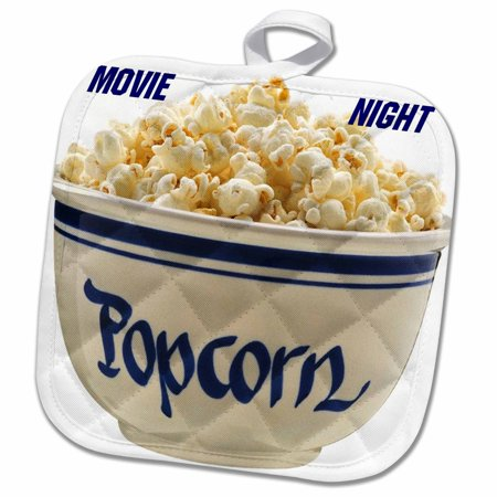 3dRose Popcorn Movie Nite - Pot Holder, 8 by 8-inch for $<!---->