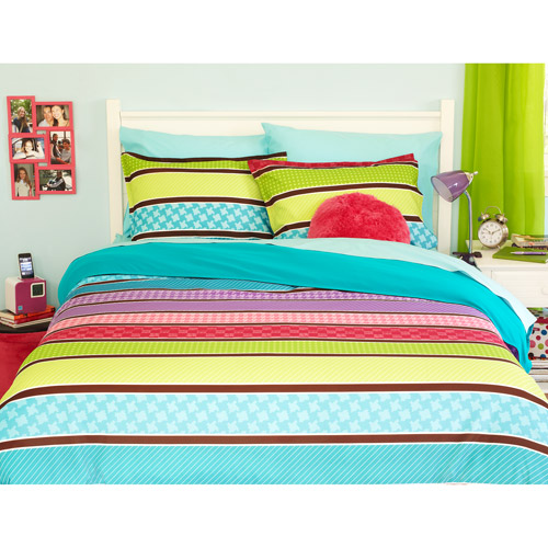 your zone reversible comforter cover & sham set, pop stripe/teal sachet