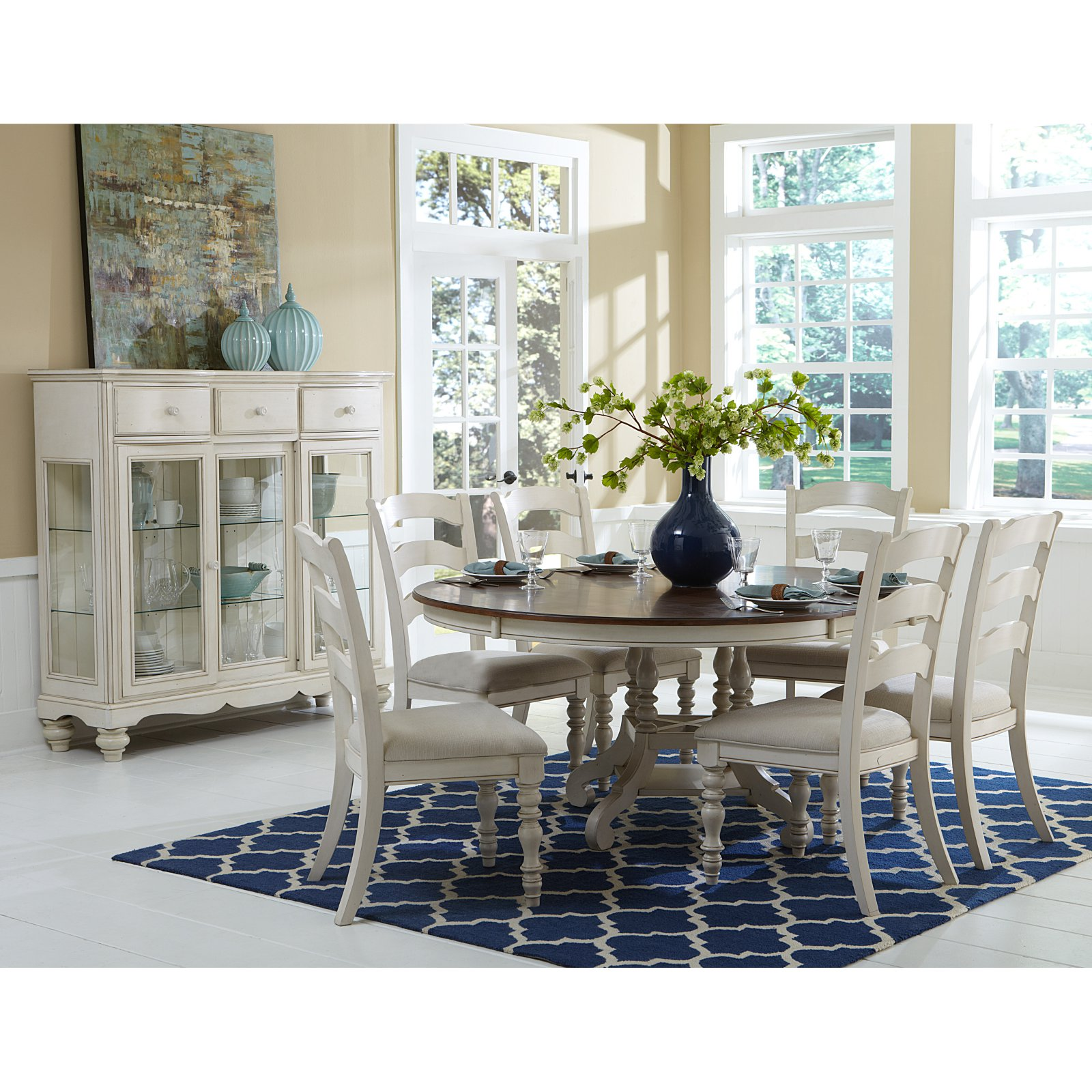 Hillsdale Furniture Pine Island 7-Piece Round Dining Set with Ladder Back Chairs