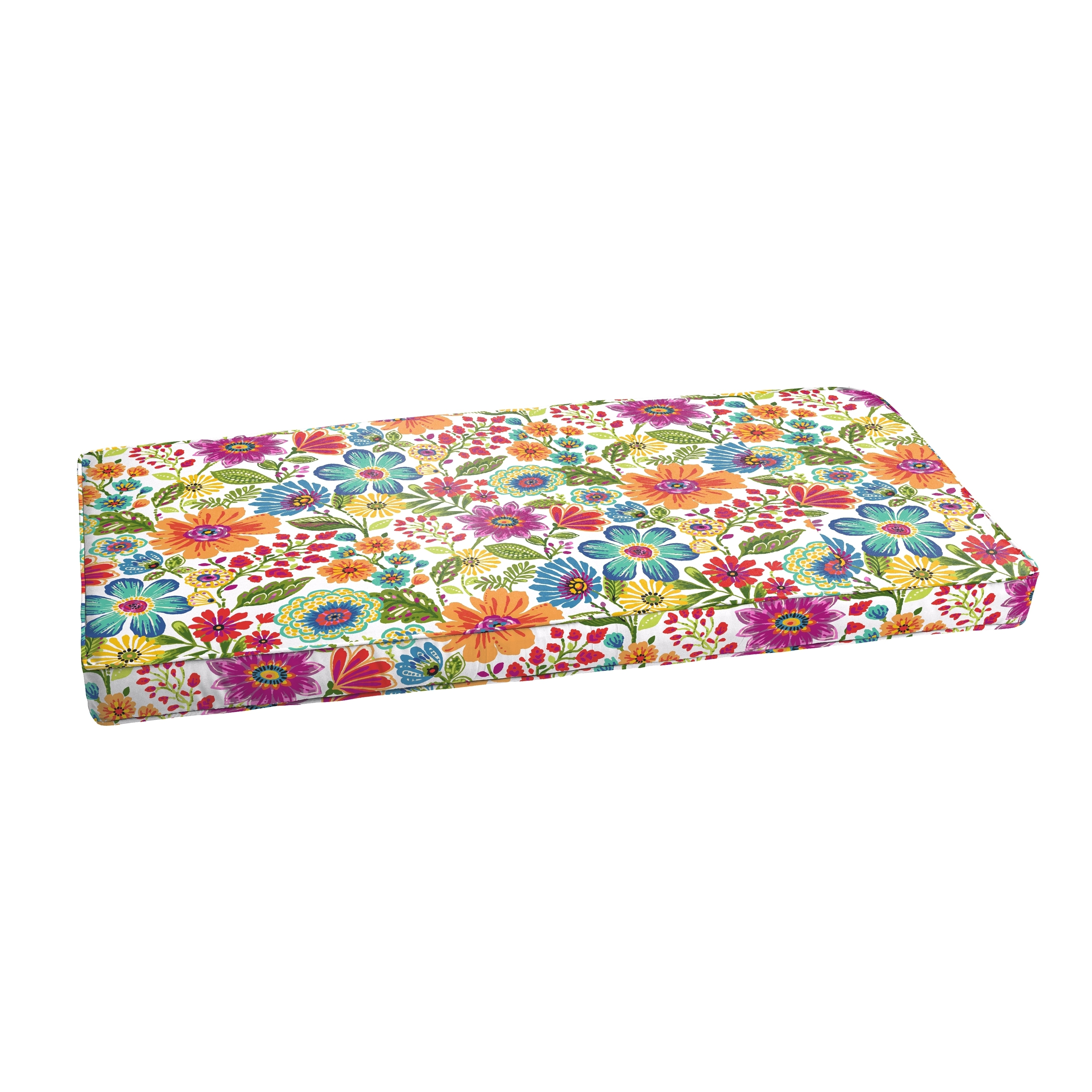 Humble and Haute Galliford Multi Floral Indoor/ Outdoor Bench Corded Cushion