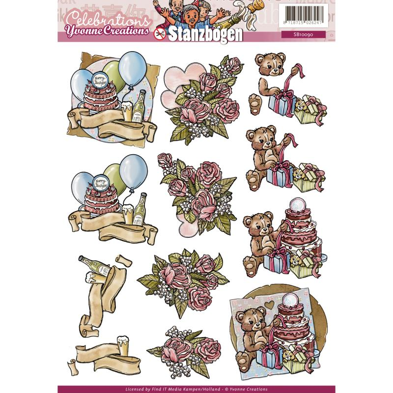 Find It Trading Yvonne Creations Punchout Sheet-celebration Birthday