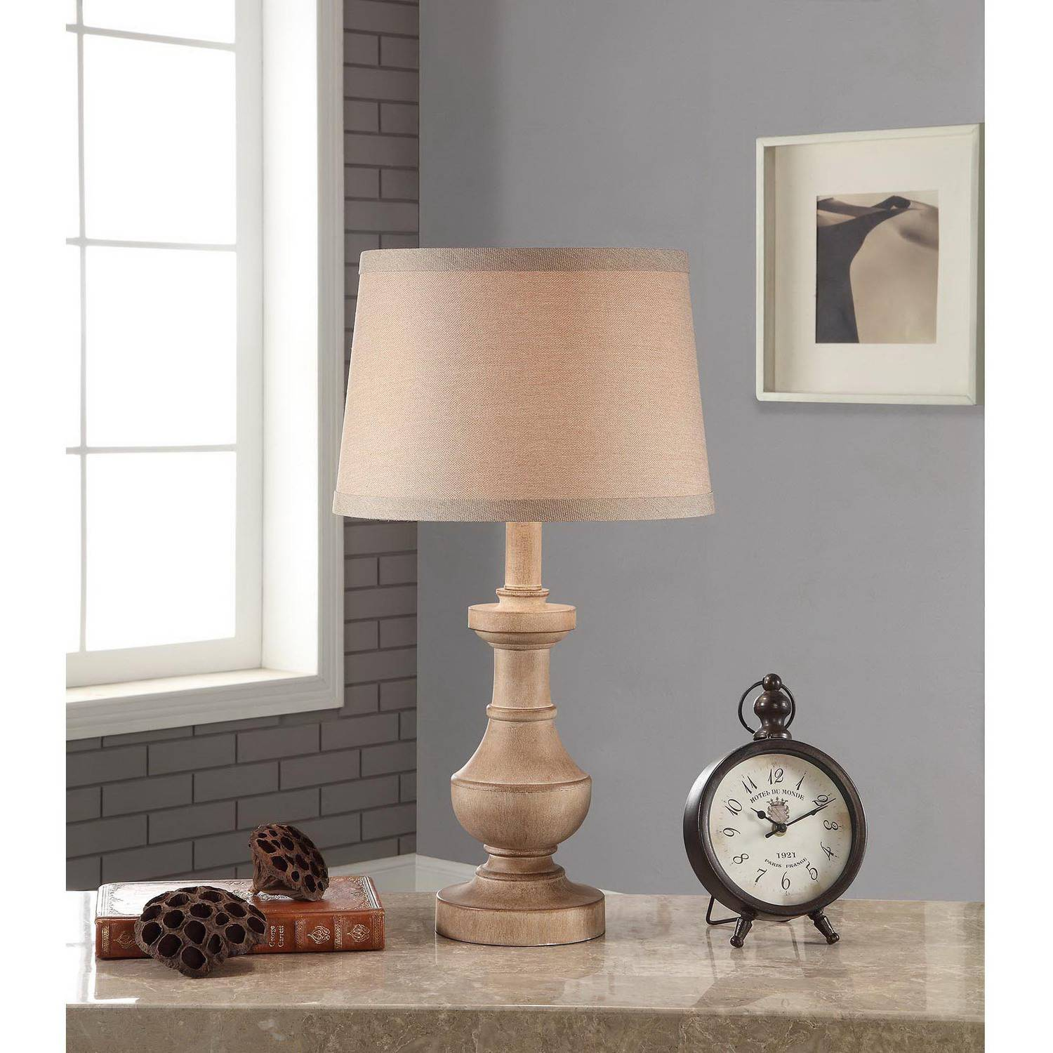 Better Homes And Gardens Rustic Table Lamp, White Washed Wood Finish