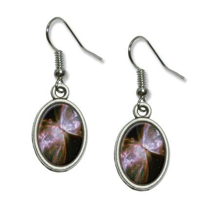 Bug Butterfly Nebula - Galaxy Space Dangling Drop Oval Earrings