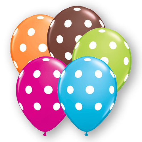 11 Inch Round Polka Dot Balloons Assortment, 100/Pack