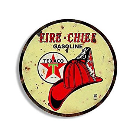 Fire Chief Decal (Round Vintage FIRE CHIEF Texaco Gas Sticker Decal (gasoline logo old rat rod) 4 x 4)