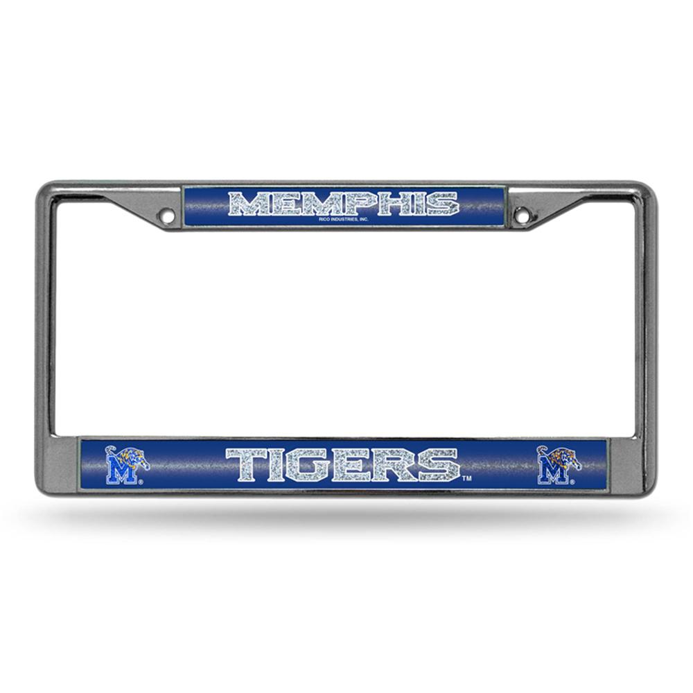 Memphis Tigers NCAA Bling Glitter Chrome License Plate Frame