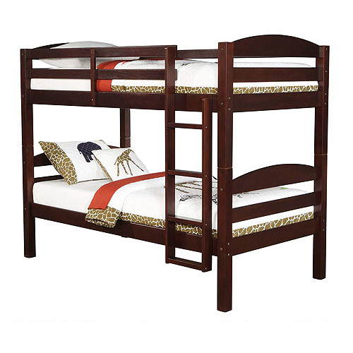 Beautiful Mainstays Twin Over Twin Wood Bunk Bed Espresso