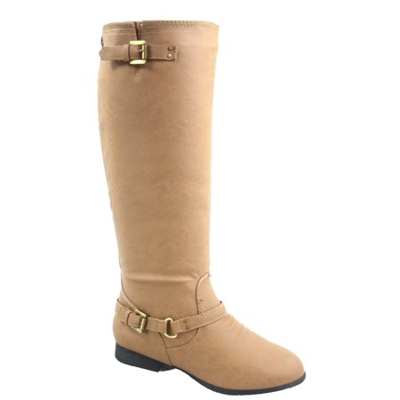 Coco-1 Women's Back Zipper Military Low Flat Heel Buckle Riding Knee High Boot](Boots Low Price)